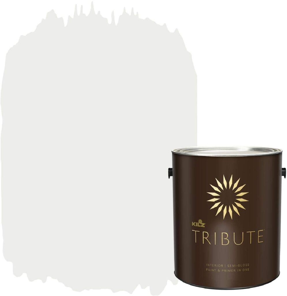 kilz tribute white paint could be the best paint for trim on the market right now. Here you can see the white color and quality branding of the product.