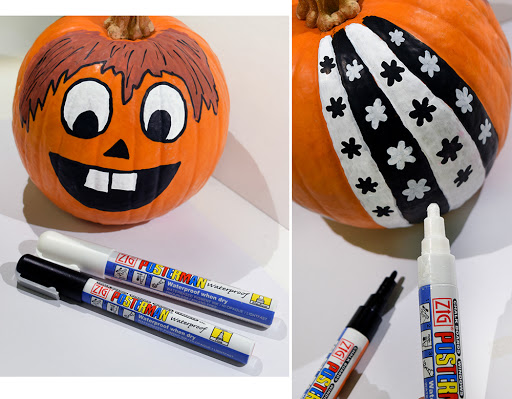 example of paint pens on pumpkins